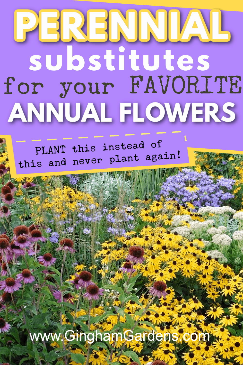 Image of a Flower Garden with text overlay - Perennial substitutes for your favorite annual flowers