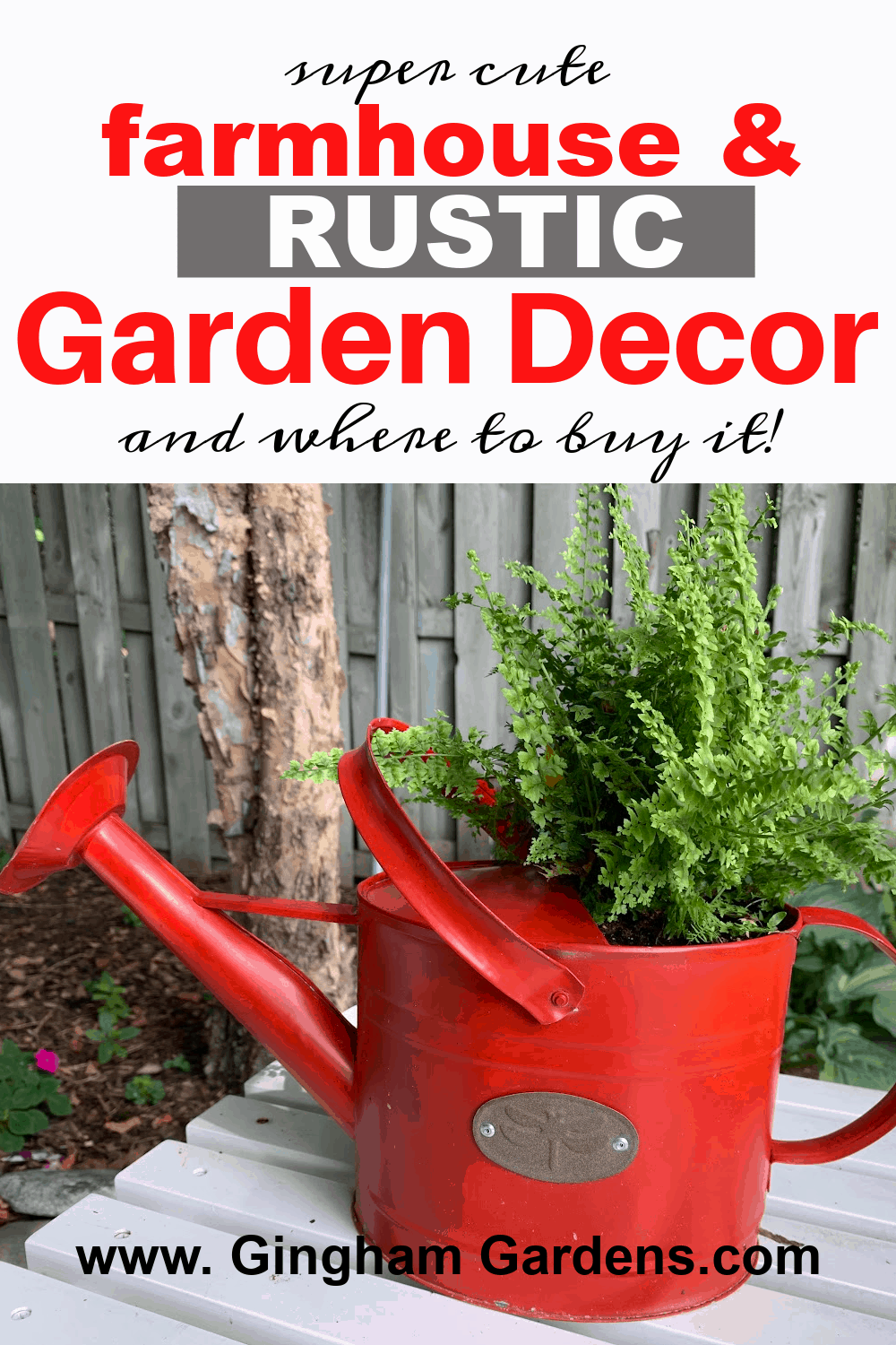 Image of a red watering can used as a planter with text overlay - Farmhouse and Rustic Garden Decor